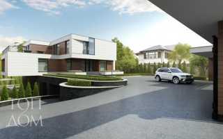 Проект дома с фасадом из камня и дерева